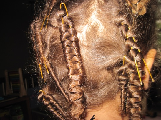 You take sections of hair and spiral it on the hair pin.
