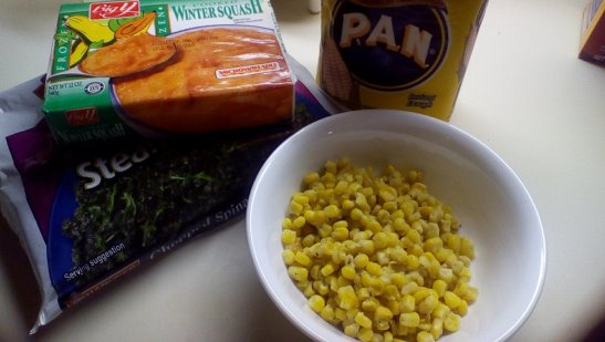 The players:  frozen squash, frozen spinach, leftover corn, and P.A.N.