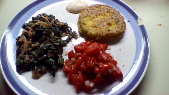 Simple sauteed red chard with fresh tomato salsa, fried green tomato, and homemade dipping sauce.